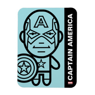 Captain America Stylized Line Art Rectangular Photo Magnet
