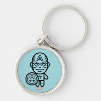 Captain America Stylized Line Art Silver-Colored Round Keychain