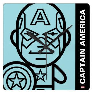 Captain America Stylized Line Art Wall Clocks