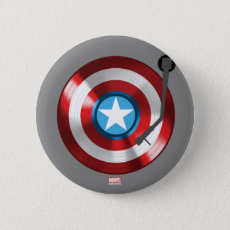 Captain America Vinyl Record Player 2 Inch Round Button