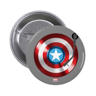 Captain America Vinyl Record Player 2 Inch Round Button