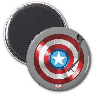 Captain America Vinyl Record Player 2 Inch Round Magnet
