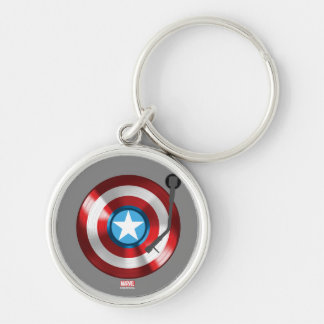 Captain America Vinyl Record Player Silver-Colored Round Keychain