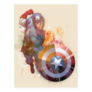 Captain America Watercolor Graphic Postcard