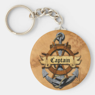 Captain Anchor And Wheel Basic Round Button Keychain
