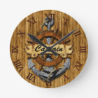 Captain Anchor And Wheel Round Clock