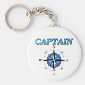 Captain And Compass Rose Basic Round Button Keychain