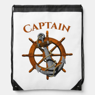 Captain And Nautical Anchor Drawstring Bag