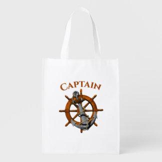 Captain And Nautical Anchor Reusable Grocery Bag