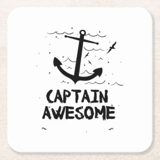Captain Awesome Boat Gifts Square Paper Coaster