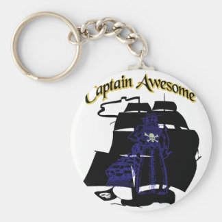 Captain Awesome Basic Round Button Keychain
