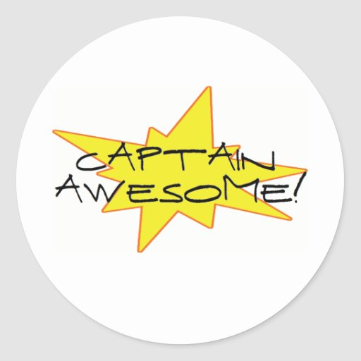 Captain Awesome! Round Stickers