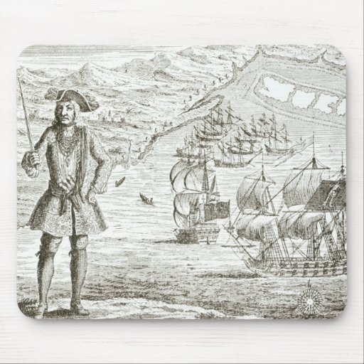 Captain Bartholomew Roberts (1682-1722) with two s Mouse Pad