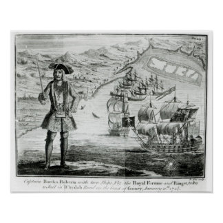 Captain Bartholomew Roberts  with two ships Poster