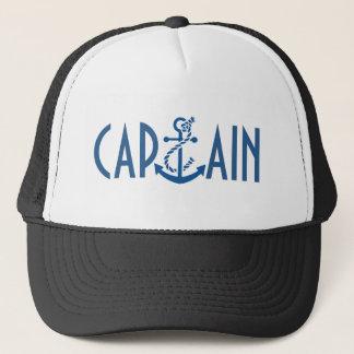 Captain-Blue Text & Nautical Boat Anchor Trucker Hat