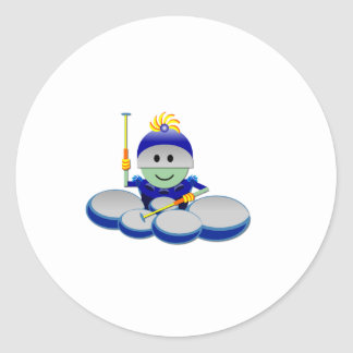 Captain Bok the Quads Space Guy From Outer Space Round Sticker