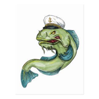 Captain Catfish Tattoo Postcard