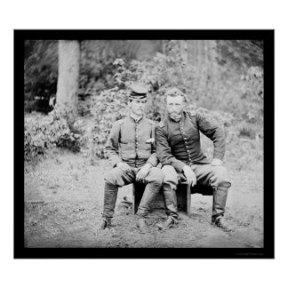 Captain Custer with a Confederate Prisoner 1862 Poster