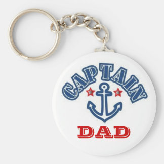 CAPTAIN DAD BASIC ROUND BUTTON KEYCHAIN