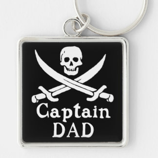 Captain Dad -  Classic Silver-Colored Square Keychain