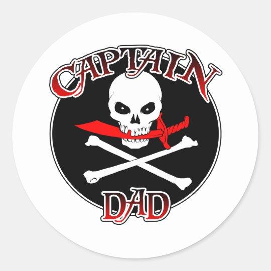 Captain Dad (Cutlass)Sticker Classic Round Sticker