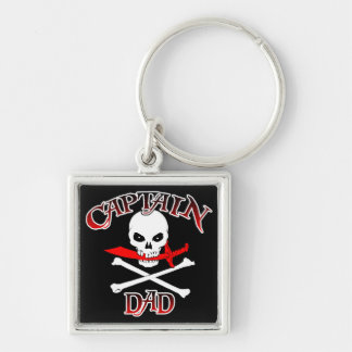 Captain Dad Silver-Colored Square Keychain