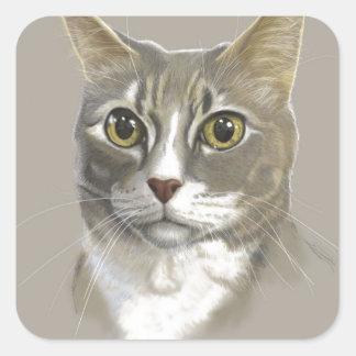 Captain domestic short hair cat square sticker