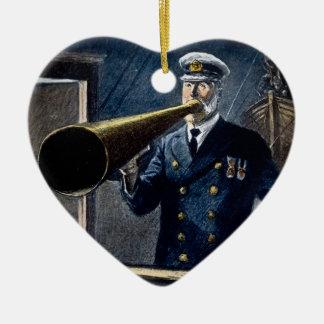 Captain Edward Smith RMS Titanic Vintage Ceramic Heart Ornament