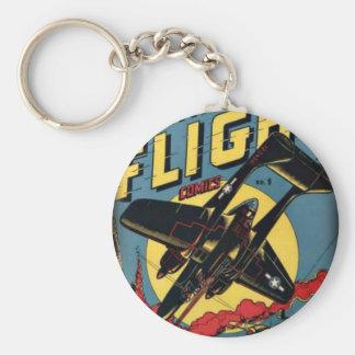 Captain Flight Vintage Golden Age Comic Book Basic Round Button Keychain