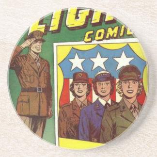 Captain Flight Vintage Golden Age Comic Book Beverage Coasters