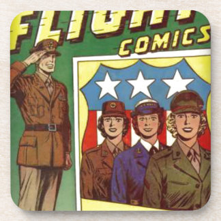 Captain Flight Vintage Golden Age Comic Book Beverage Coasters