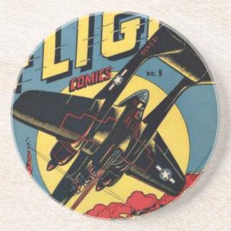 Captain Flight Vintage Golden Age Comic Book Coasters