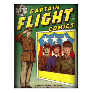 Captain Flight Vintage Golden Age Comic Book Postcard