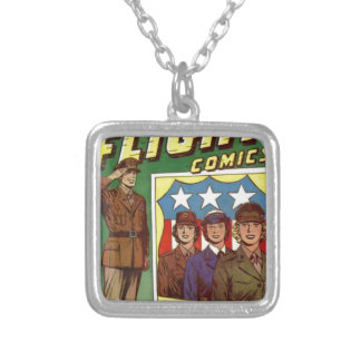 Captain Flight Vintage Golden Age Comic Book Silver Plated Necklace
