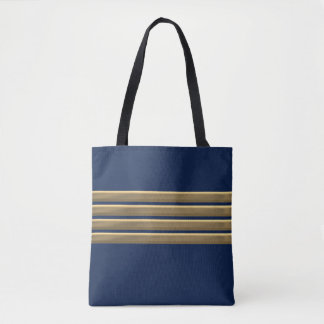 Captain gold stripes tote bag