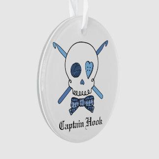 Captain Hook - Crochet Skull (Blue) Ornament