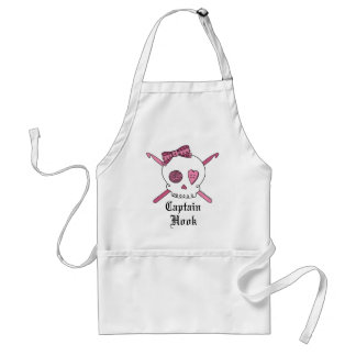 Captain Hook Skull & Crochet Hooks (Pink) Standard Apron