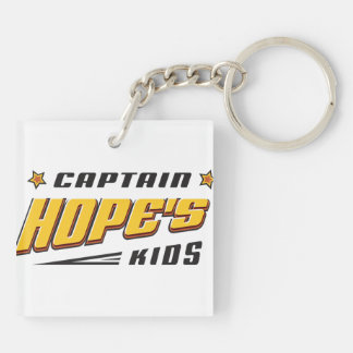 Captain Hope Bear Double-Sided Square Acrylic Keychain