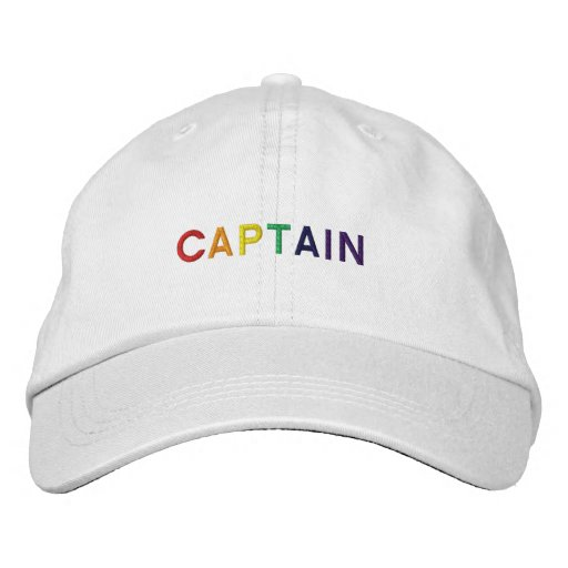 Captain in Rainbow Colors Embroidered Hat
