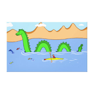 Captain Kayak and Loch Ness Monster Canvas Print
