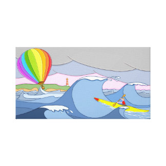 Captain Kayak and the Balloon Canvas Print