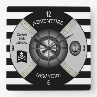 Captain Kidd ~  Adventure Galley ~Privateer~Pirate Square Wall Clock