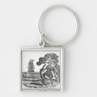 Captain Kidd Burying His Bible, illustration Silver-Colored Square Keychain