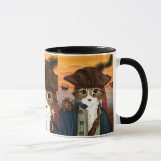 Captain Leo, Pirate Cat & Rat Fantasy Art Mug