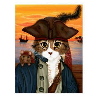 Captain Leo, Pirate Cat & Rat Fantasy Art Postcard