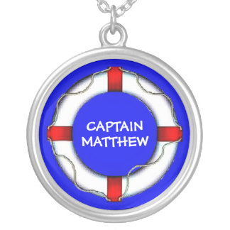 Captain Lifesaver Ring Silver Plated Necklace