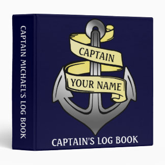 Captain Log Ship Anchor Nautical Personalized Name Binders