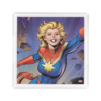 Captain Marvel Breaking Through Wall Acrylic Tray