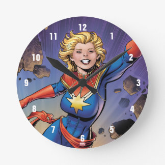 Captain Marvel Breaking Through Wall Clocks