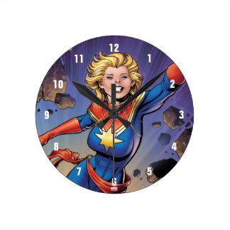 Captain Marvel Breaking Through Wall Round Clock